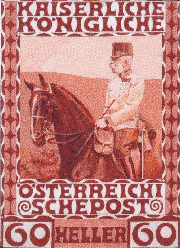 Design of the anniversary stamp with Austrian Franz Joseph I. on horseback - Koloman Moser