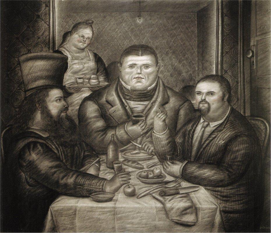 Dinner with Ingres and Piero della Francesca - Fernando Botero