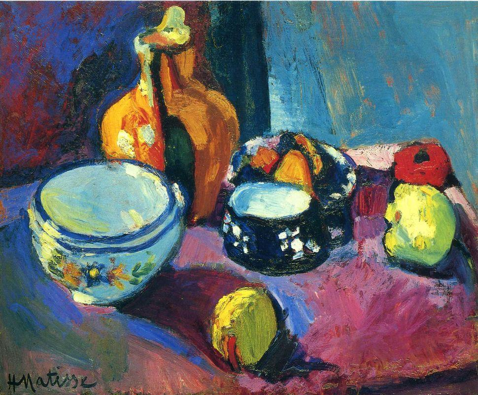 Dishes and Fruit on a Red and Black Carpet - Henri Matisse