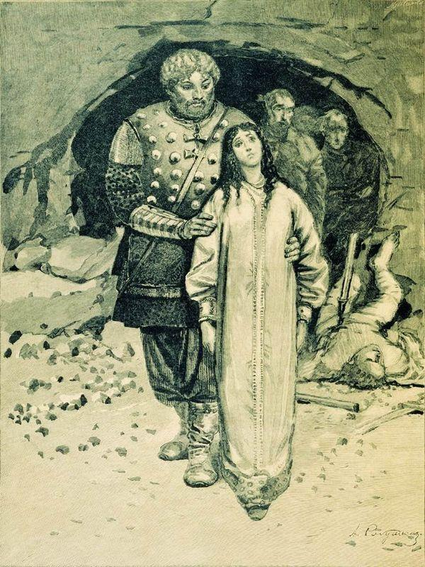 "Dobrynya Nikitich. Illustration for the book ""Russian epic heroes"" - Andrei Ryabushkin"