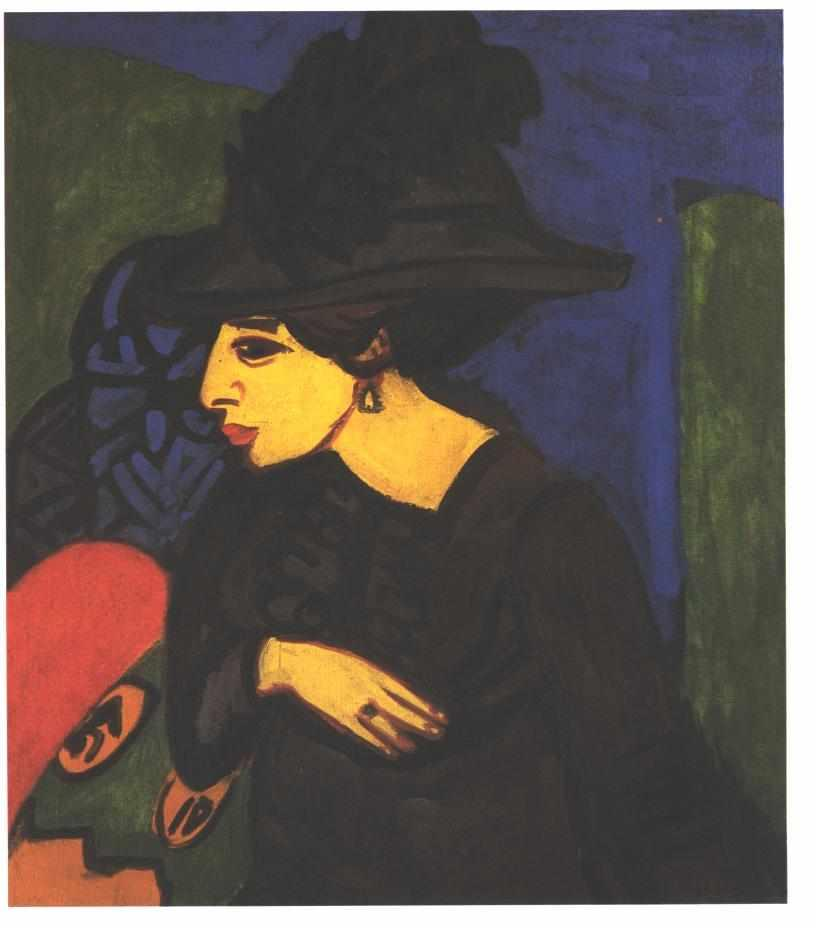 Dodo with a Big Feather Hat - Ernst Ludwig Kirchner