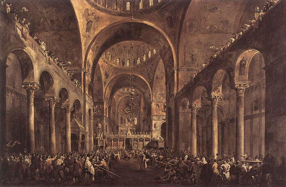 Doge Alvise IV Mocenigo Appears to the People in St. Mark's Basilica - Francesco Guardi