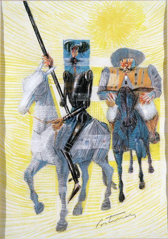 Dom Quixote e Sancho Panca Saindo para Suas Aventuras   - Candido Portinari