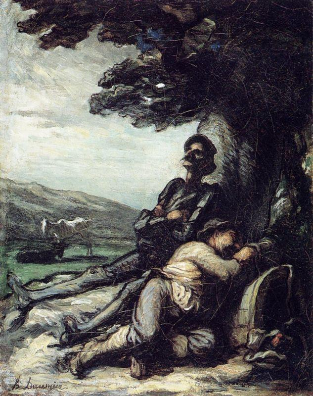 Don Quixote and Sancho Pansa Having a Rest under a Tree - Honore Daumier