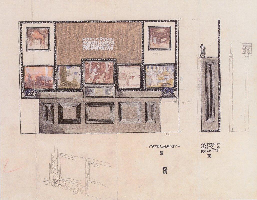 Draft for the space of ??the Austrian State Printing House on show in London - Koloman Moser
