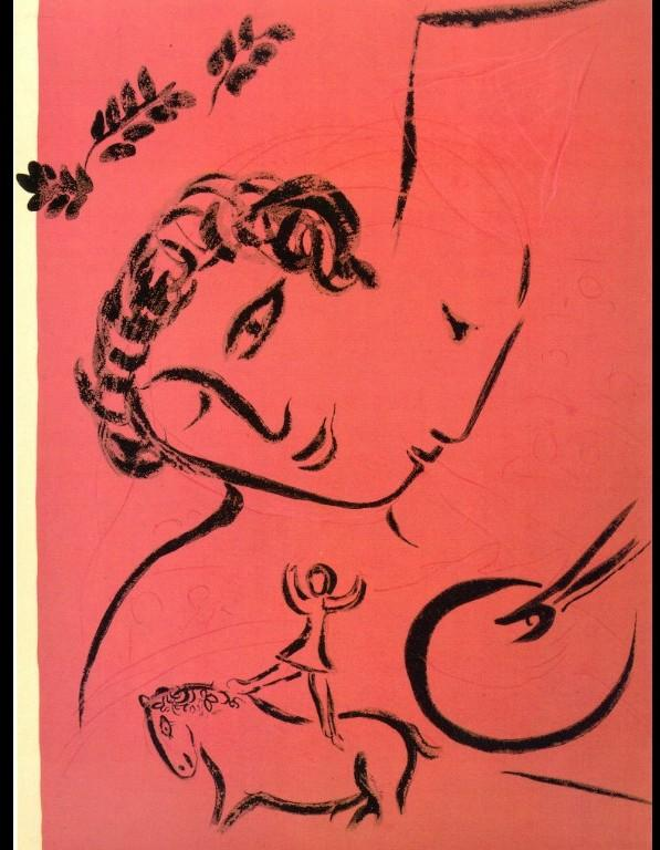 Drawing in rose - Marc Chagall