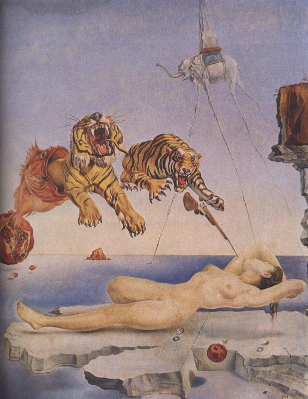 Dream Caused by the Flight of a Bee around a Pomegranate. One Second before Awakening - Salvador Dali