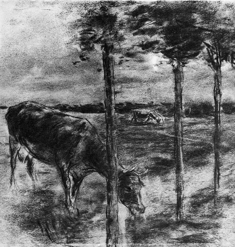 Drinking cow - Max Liebermann