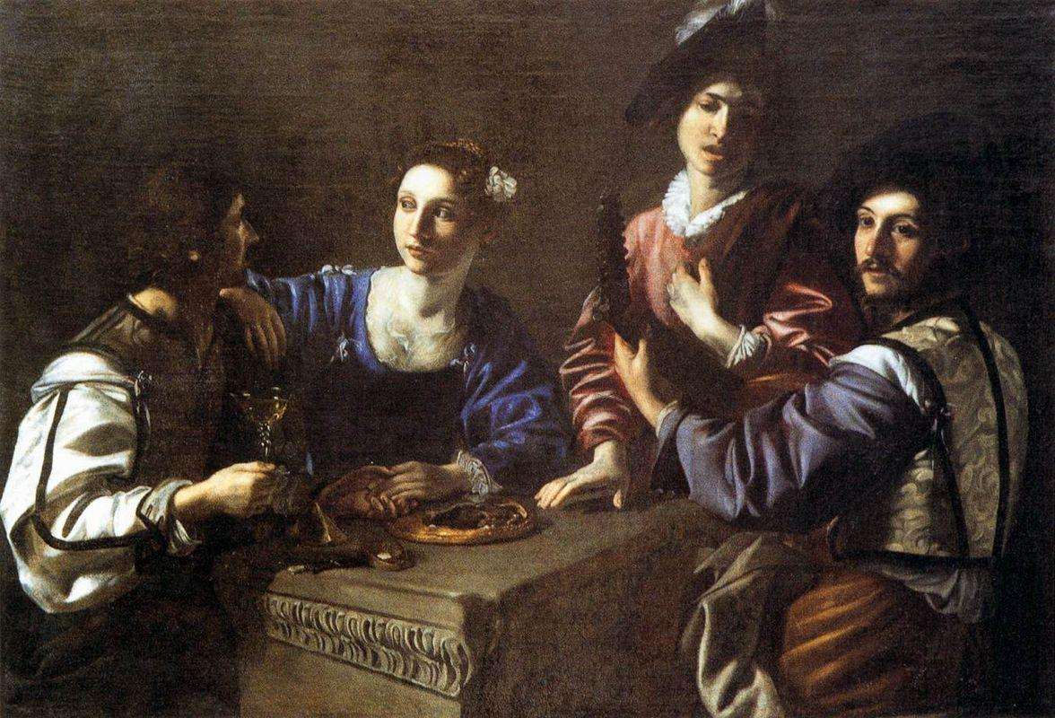 Drinking Party with a Lute Player - Nicolas Tournier