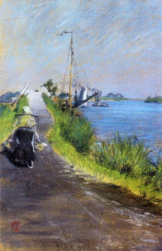 Dutch Canal (aka Canal Path Holland) - William Merritt Chase