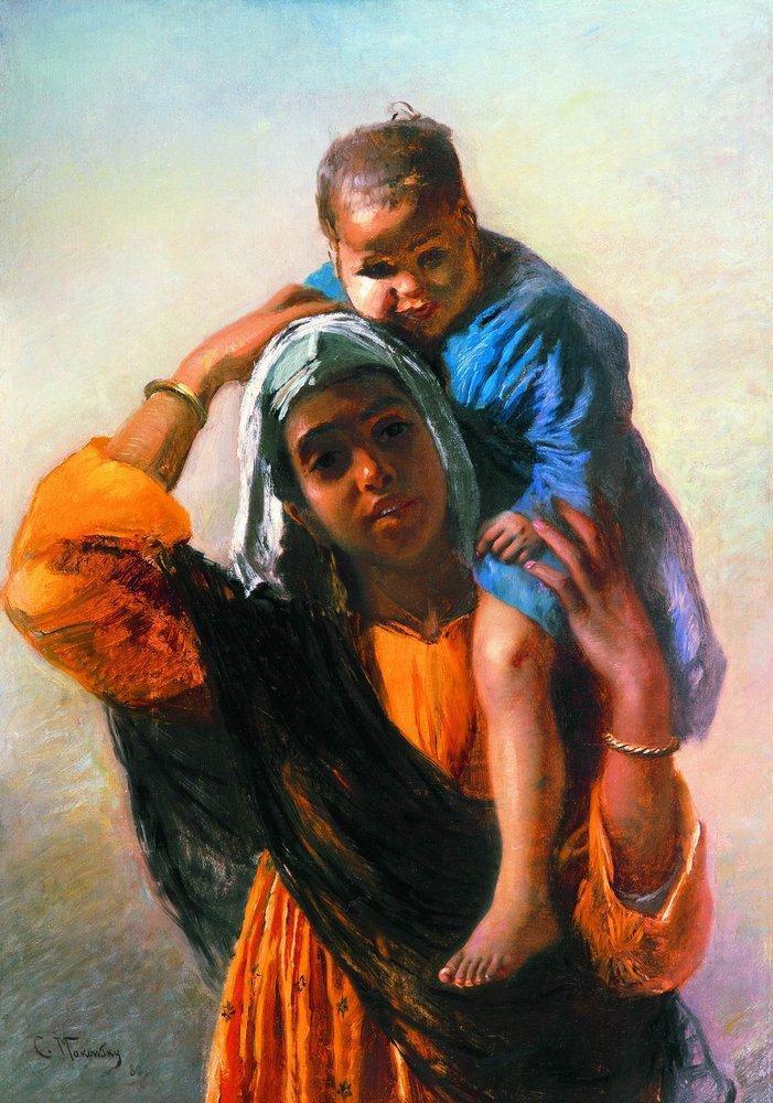 Eastern Woman with a child - Konstantin Makovsky