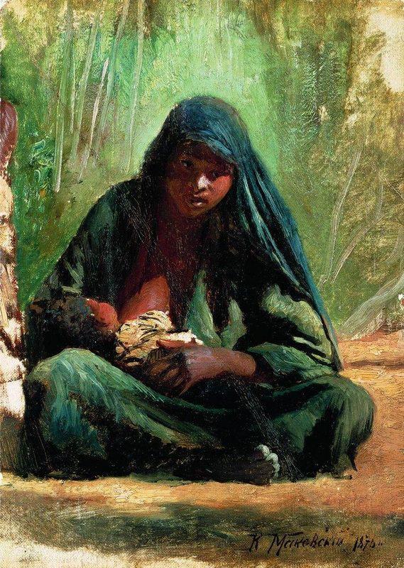 Egyptian with a child - Konstantin Makovsky