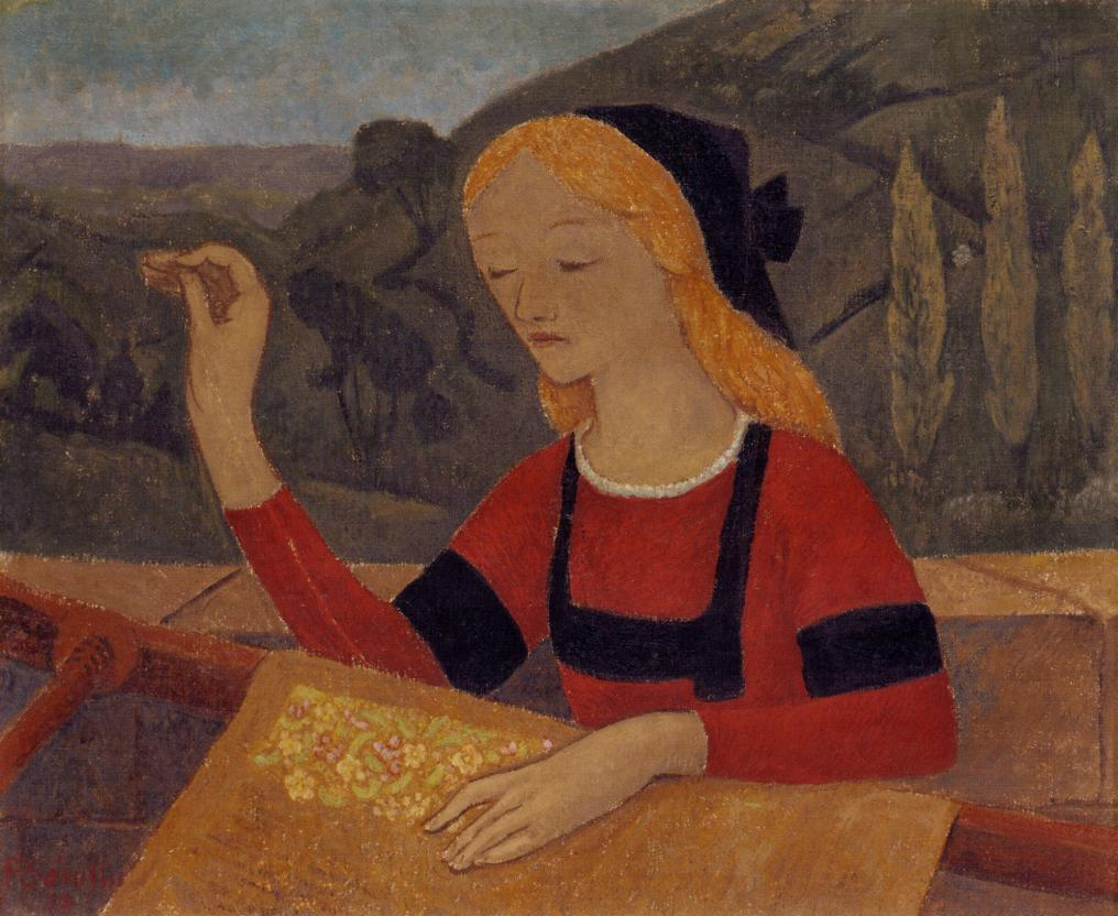 Embroiderer in a Landscape of Chateauneuf - Paul Serusier