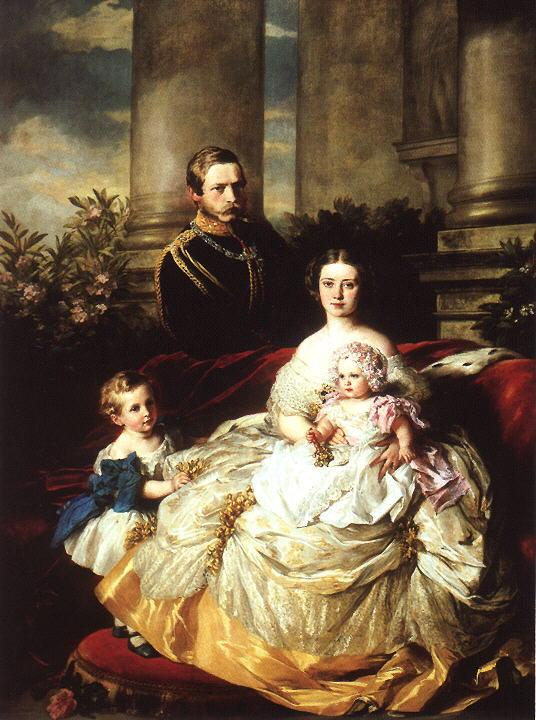 Emperor Frederick III of Germany, King of Prussia with his wife, Empress Victoria, and their children, Prince William and Princess Charlotte - Franz Xaver Winterhalter
