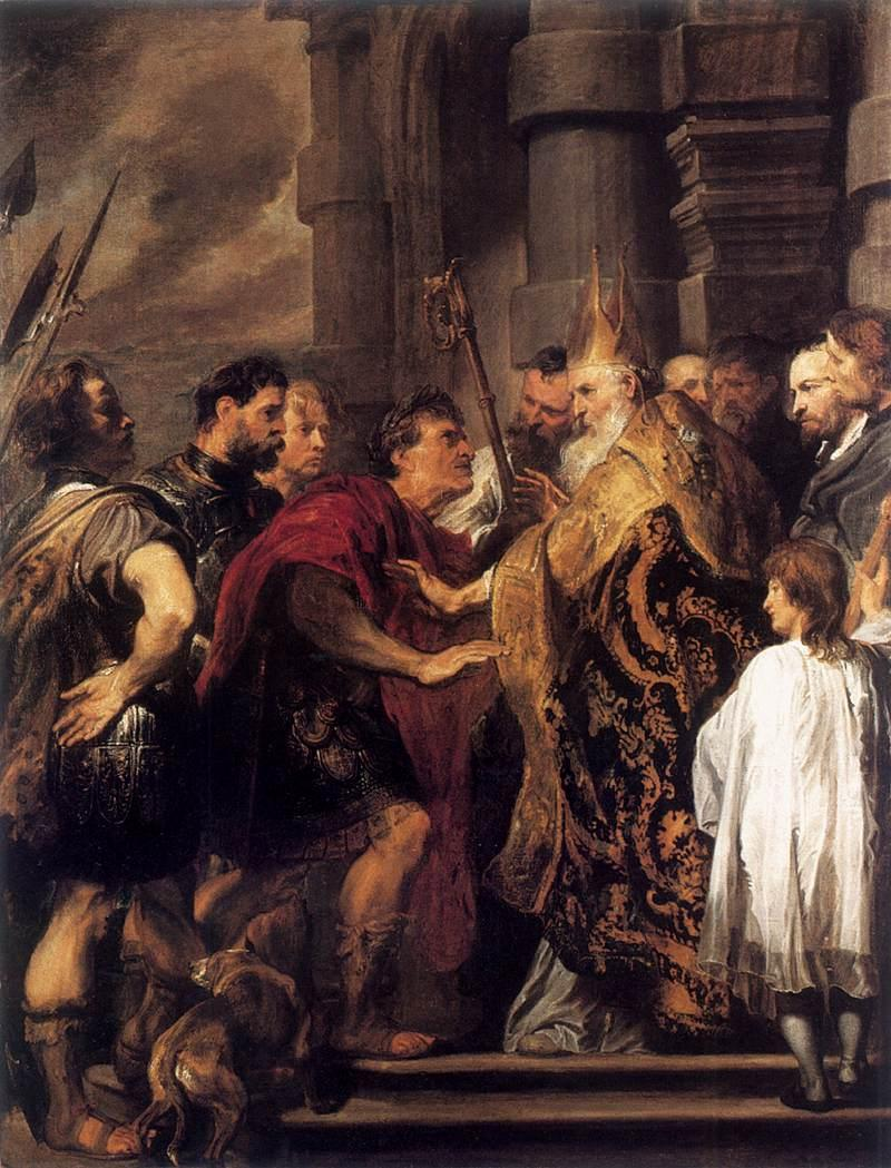 Emperor Theodosius Forbidden by St Ambrose To Enter Milan Cathedral - Anthony van Dyck