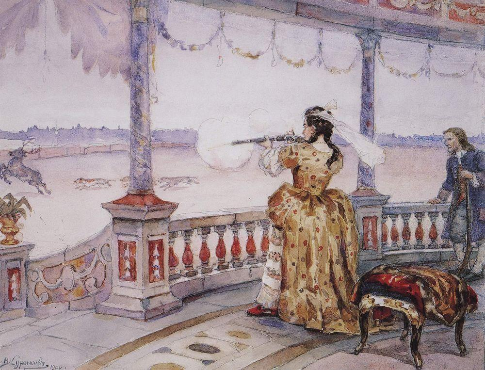 Empress Anna Ioannovna in Peterhof Temple shoots deer - Vasily Surikov