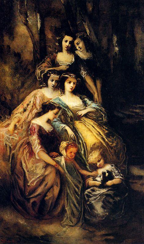 Empress Eugenie And Her Attendants - Adolphe Joseph Thomas Monticelli