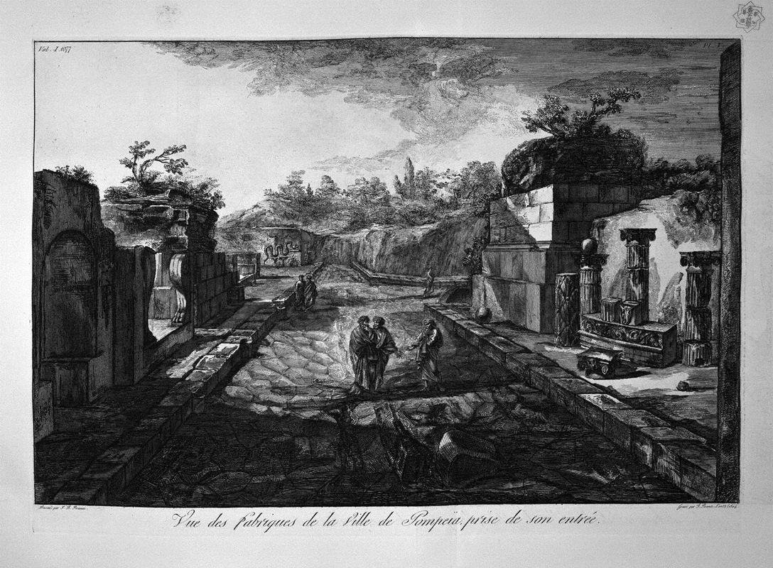 Entrance to the city of Pompeii with the existing factories outside the door - Giovanni Battista Piranesi