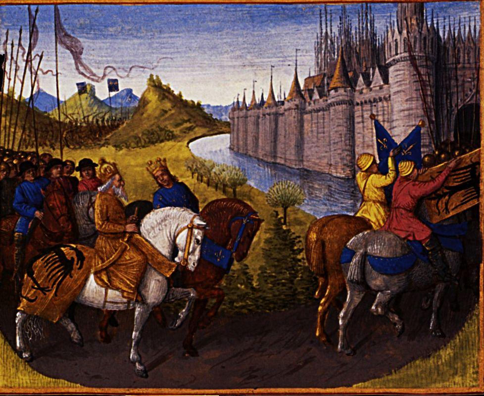 Entry of Louis VII (c.1120-80) King of France and Conrad III (1093-1152) King of Germany into Constantinople during the Crusades, 1147-49 - Jean Fouquet