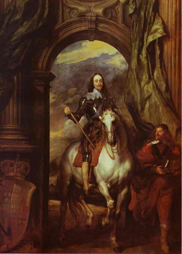 Equestrian Portrait of Charles I, King of England with Seignior de St Antoine - Anthony van Dyck