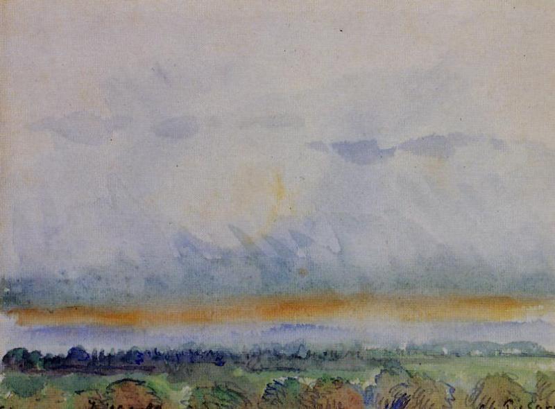 Eragny, Sunset - Camille Pissarro