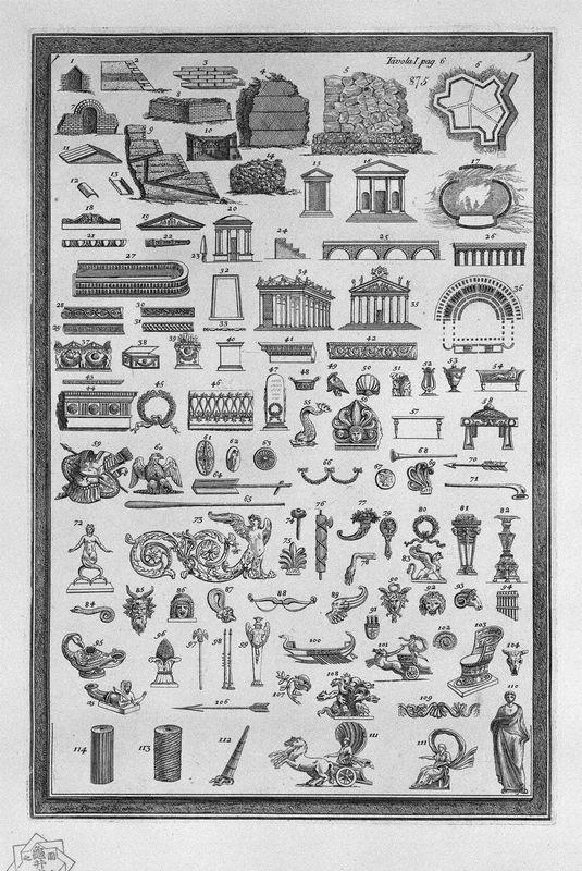 Etruscan monuments of various kinds relating to sacred uses, public, private, war, and ornaments used in the aforementioned sights (115 small incisions) - Giovanni Battista Piranesi