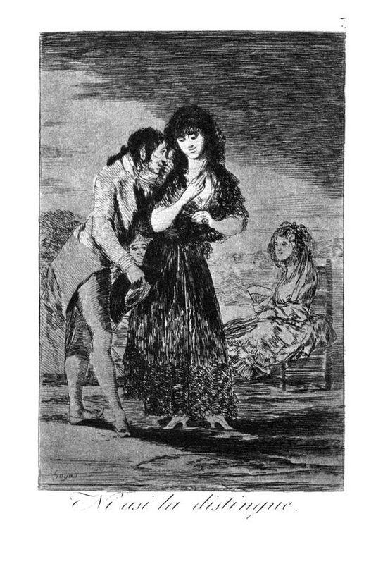 Even so he cannot make her out - Francisco Goya