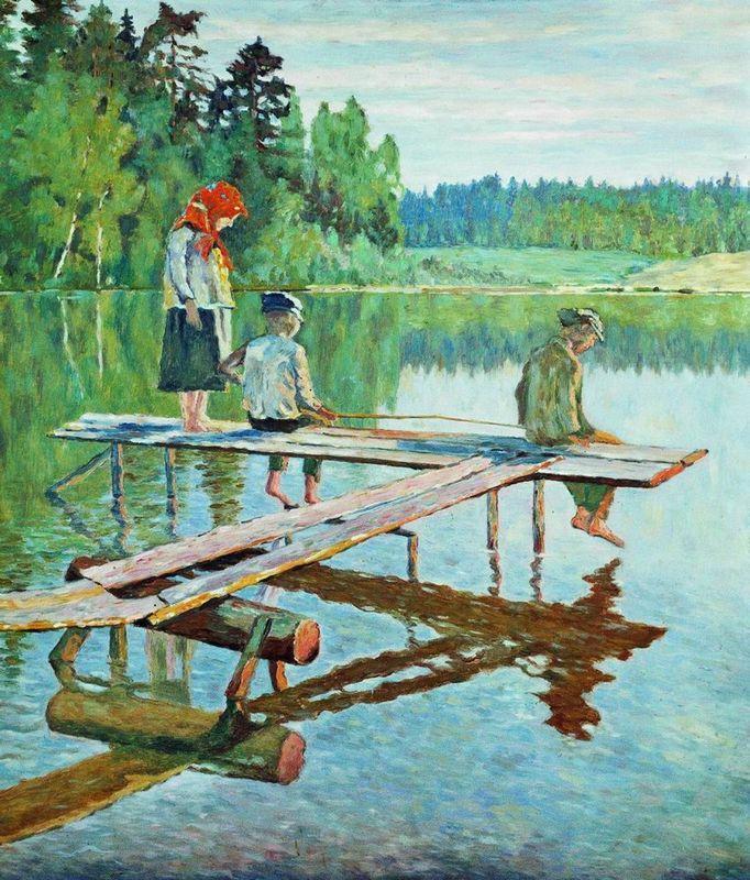 Evening (Angler) - Nikolay Bogdanov-Belsky