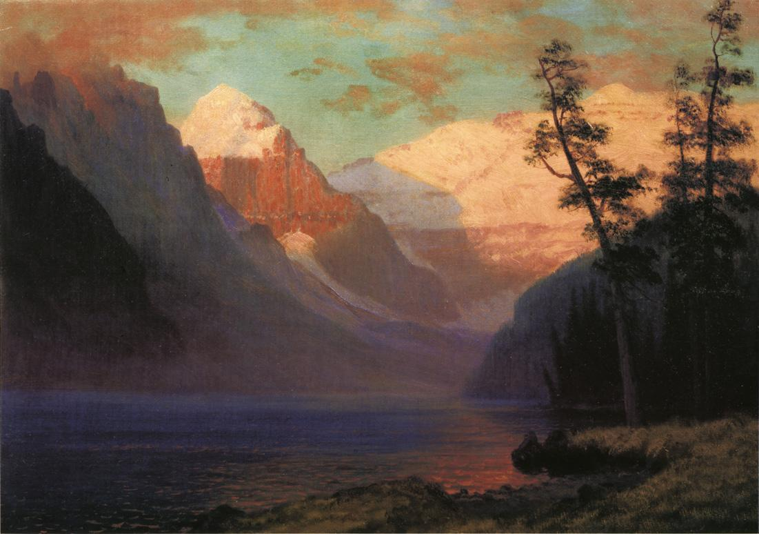Evening Glow, Lake Louise - Albert Bierstadt