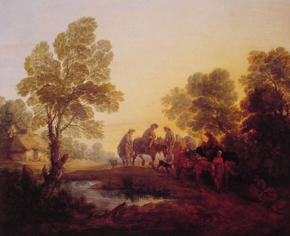 Evening Landscape Peasants and Mounted Figures - Thomas Gainsborough