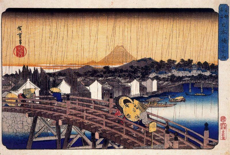 Evening Shower at Nihonbashi Bridge - Hiroshige
