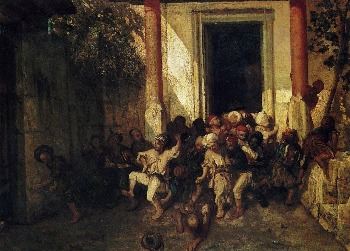 Exit of the Turkish school - Honore Daumier