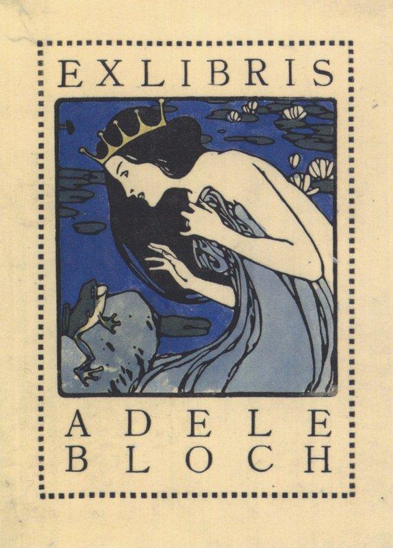 Exlibris Adele Bloch - Bookplate with princess and frog - Koloman Moser