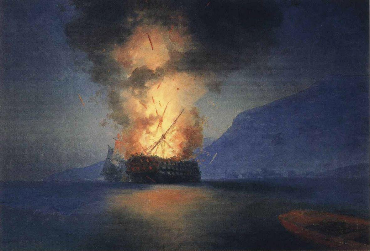 Exploding Ship    - Ivan Aivazovsky