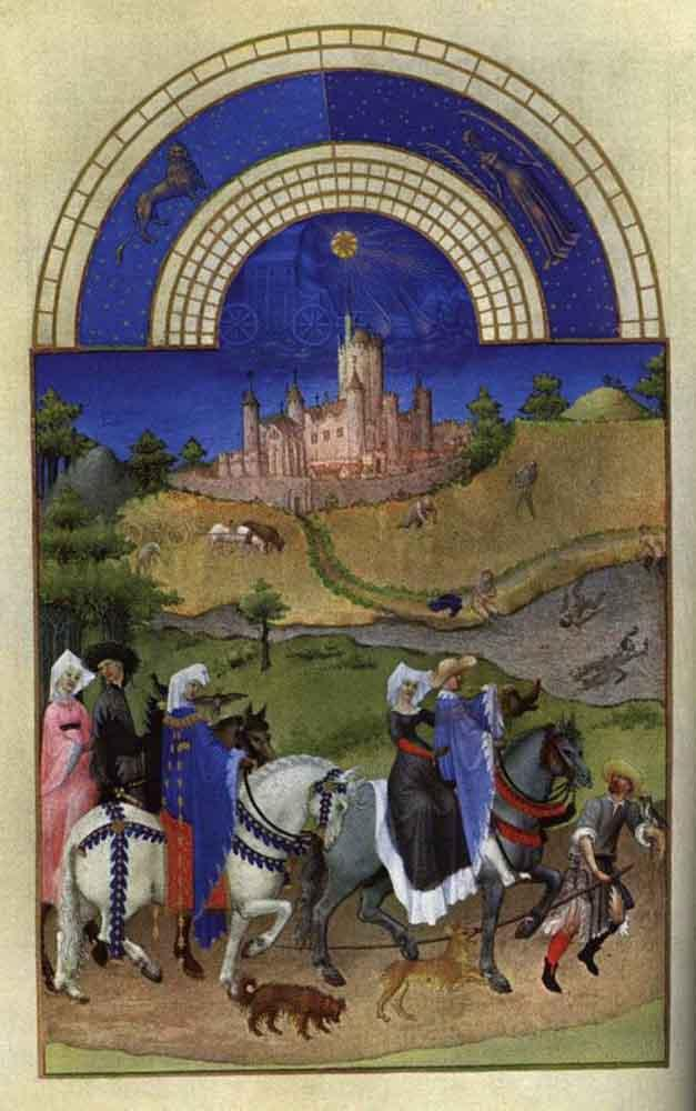 Facsimile of August: Hawking - Limbourg brothers