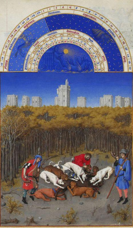 Facsimile of December: Hunting Wild Boar - Limbourg brothers