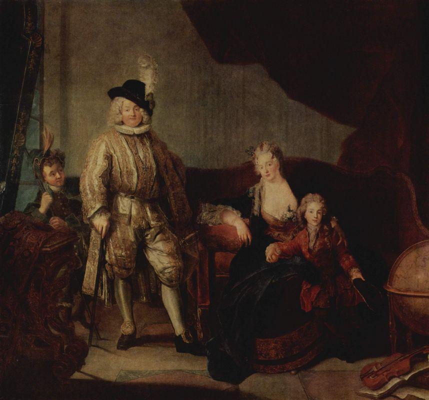 Family Portrait of Baron von Erlach - Antoine Pesne