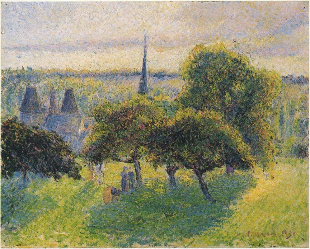 Farm and Steeple at Sunset - Camille Pissarro