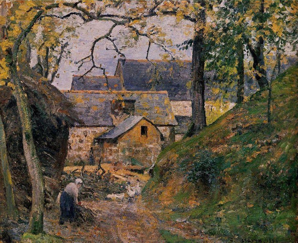 Farm at Montfoucault - Camille Pissarro