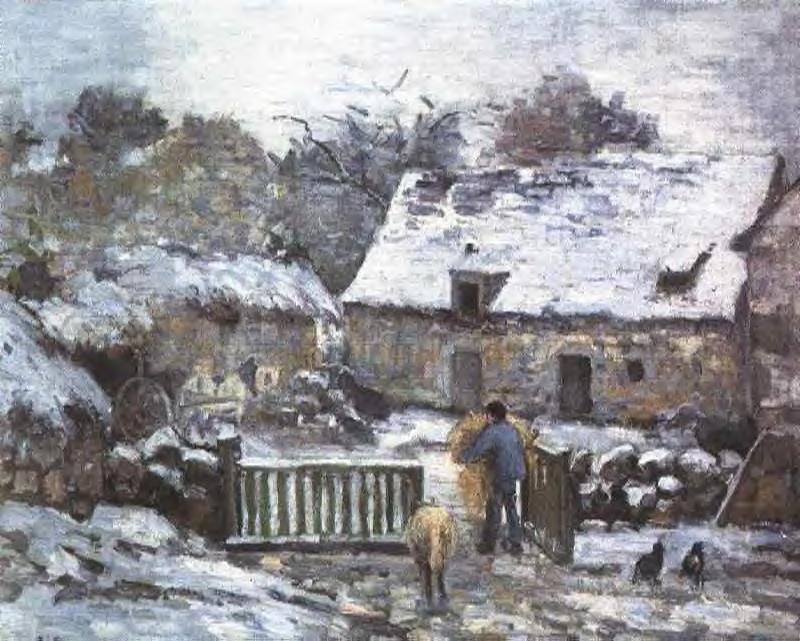 Farm at Montfoucault 2 - Camille Pissarro