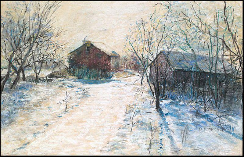 Farm Buildings in a Winter Landscape - Willard Metcalf