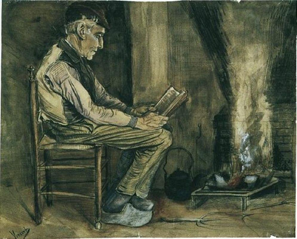 Farmer sitting at the fireside and reading - Vincent van Gogh