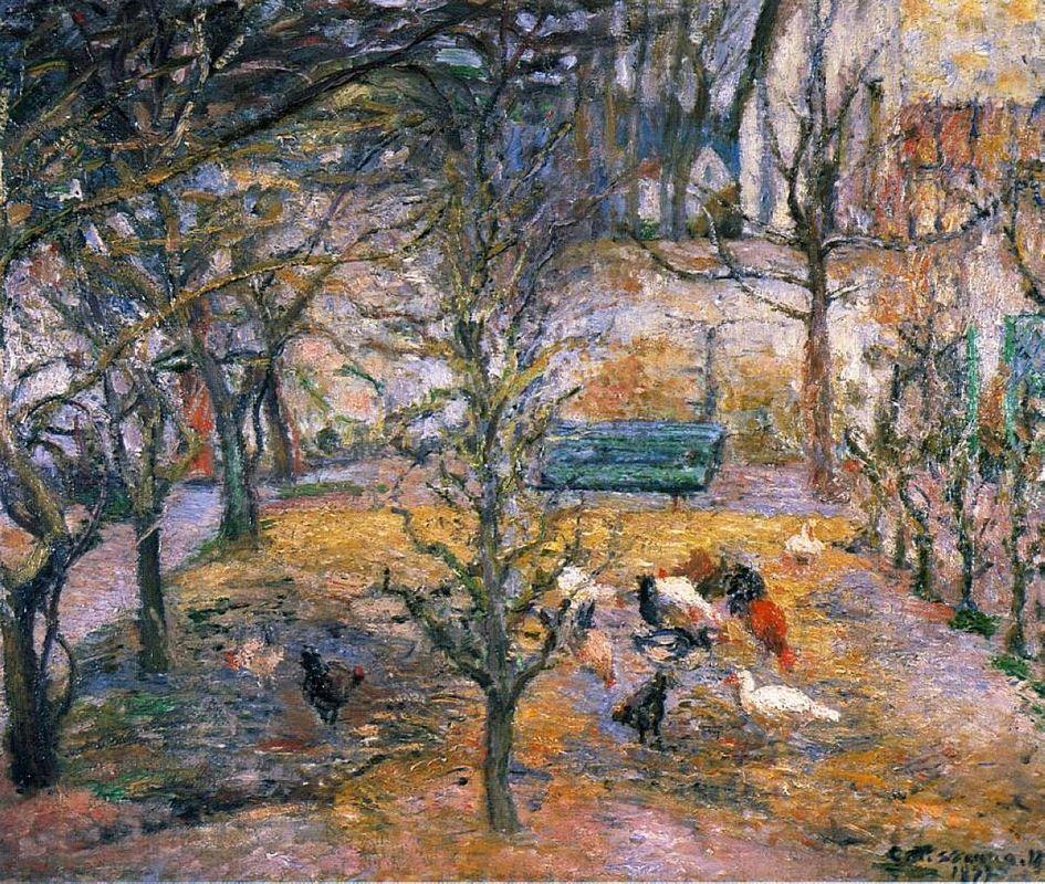 Farmyard at the Maison Rouge, Pontoise - Camille Pissarro