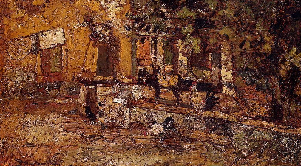 Farmyard with Donkeys and Roosters - Adolphe Joseph Thomas Monticelli