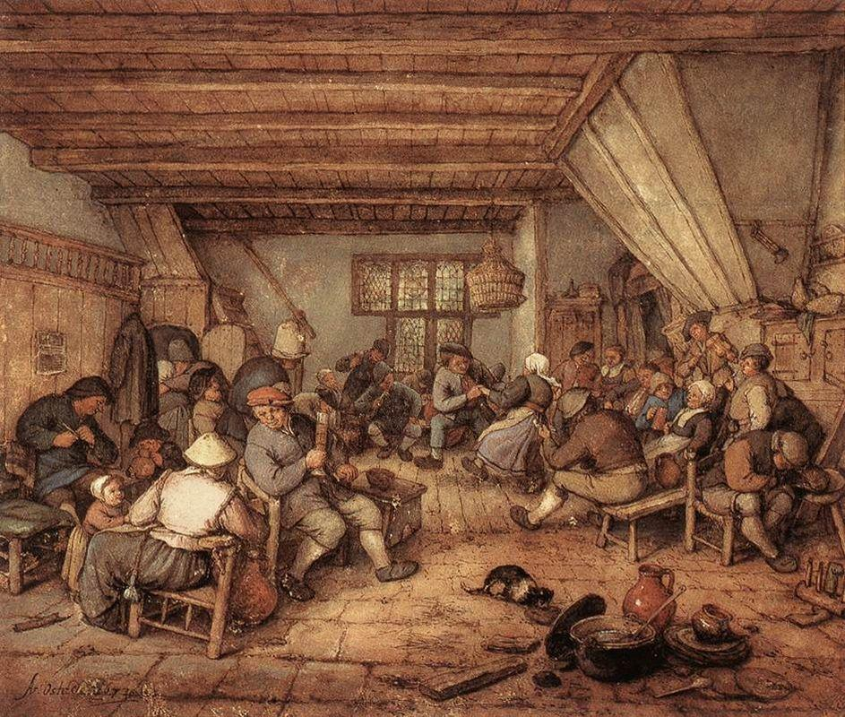 Feasting Peasants in a Tavern - Adriaen van Ostade