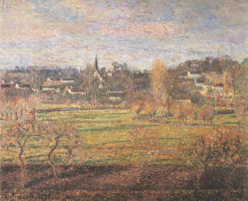 February, Sunrise, Bazincourt - Camille Pissarro