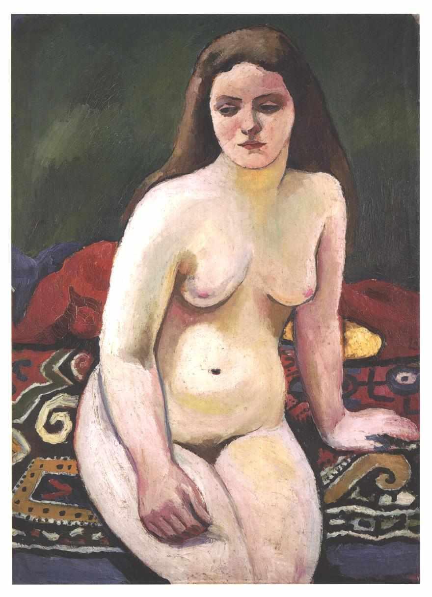 Female nude at a knited carpet - August Macke