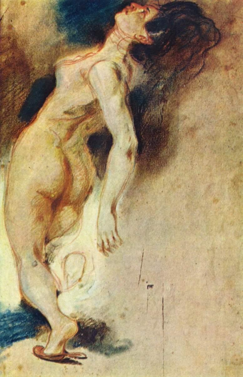 Female Nude Killed from Behind - Eugene Delacroix