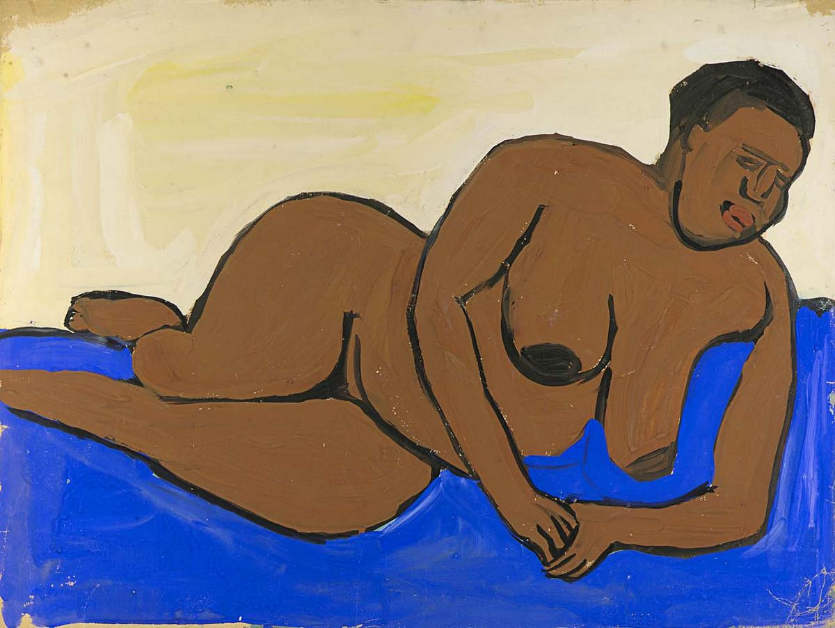 Female Nude Reclining on Blue Ground - William H. Johnson