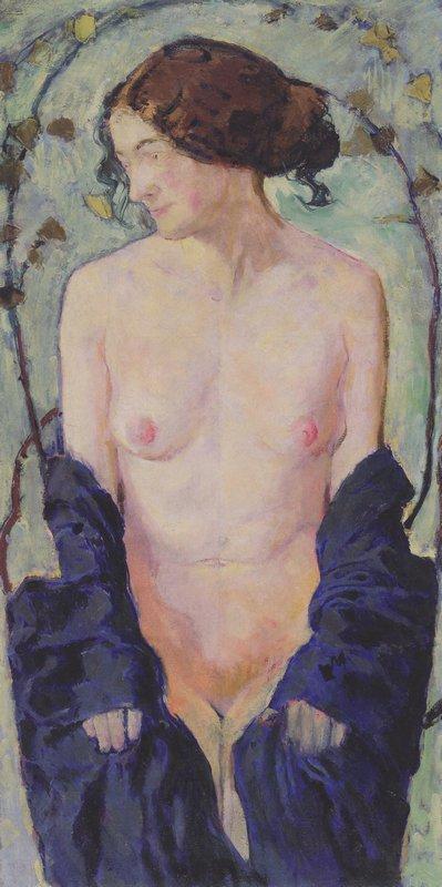 Female Nude with blue cloth - Koloman Moser